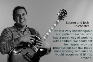 Ians Guitar Tuition review - Ian Holding Guitar, With review from Lauren Sexton written next to it, Guitar Teacher Review